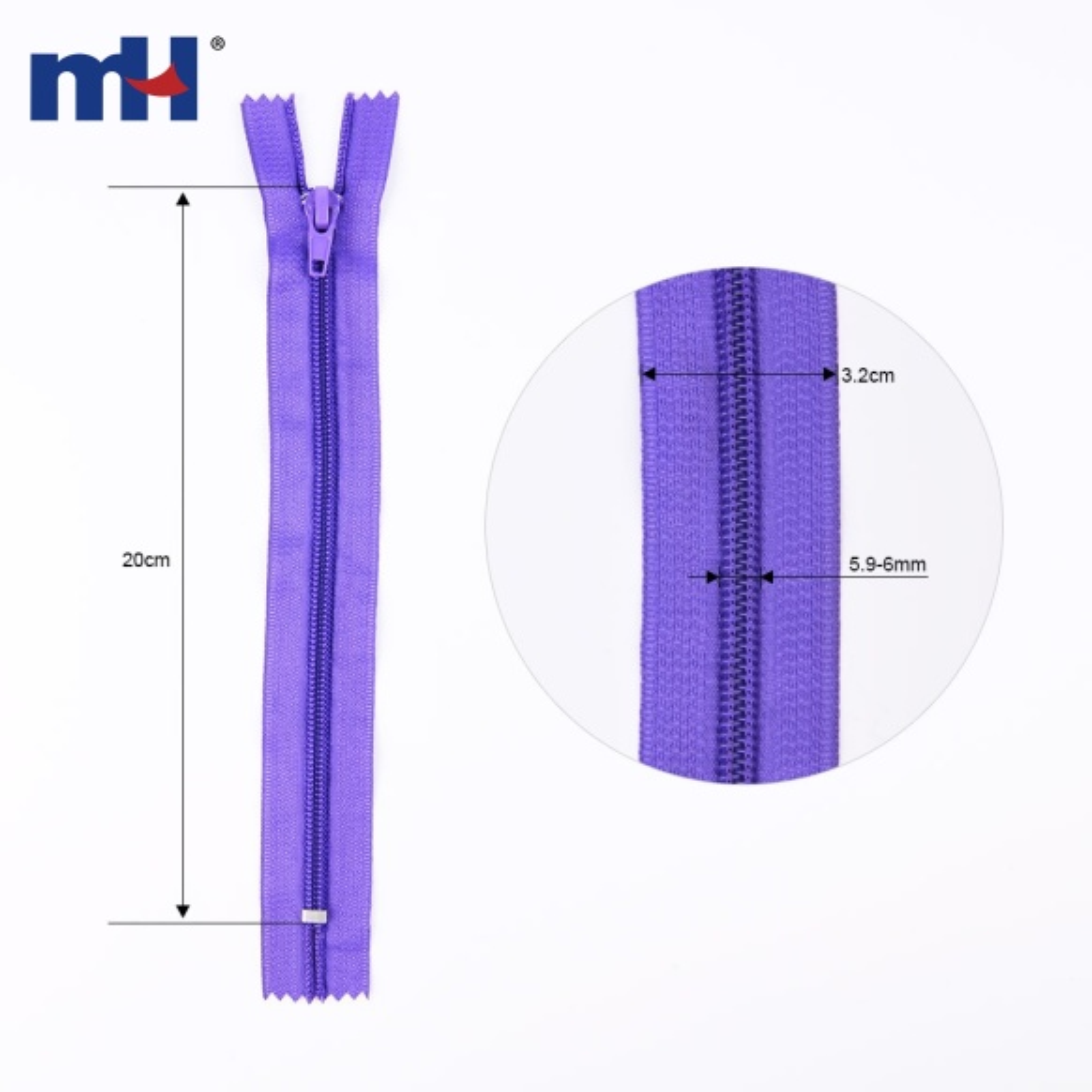 #5 closed end nylon zipper