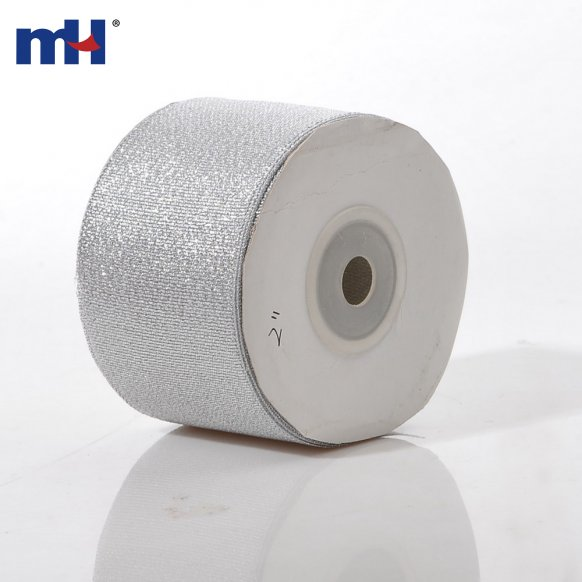 50mm silver glitter ribbon