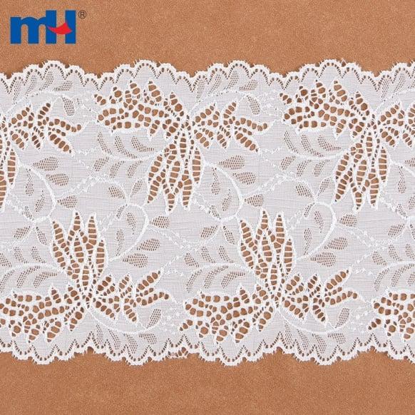 Adorno de cinta de encaje floral bordado blanco