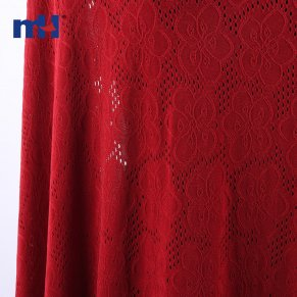 Tela de encaje floral escarlata rojo