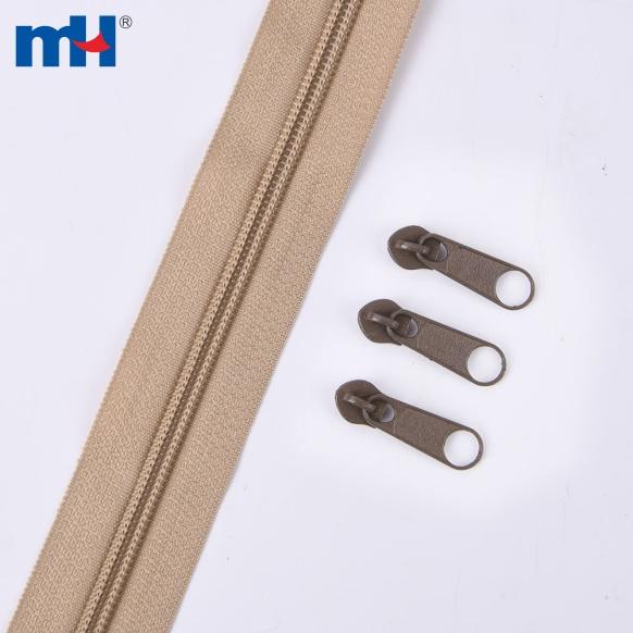# 5 cadena larga con cremallera de nailon con deslizador sin bloqueo 15G por metro 600PCS por KG