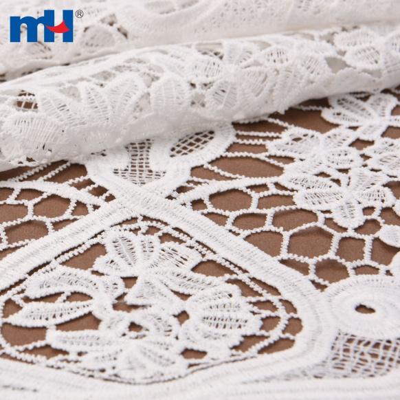 Tela de encaje de guipur blanco