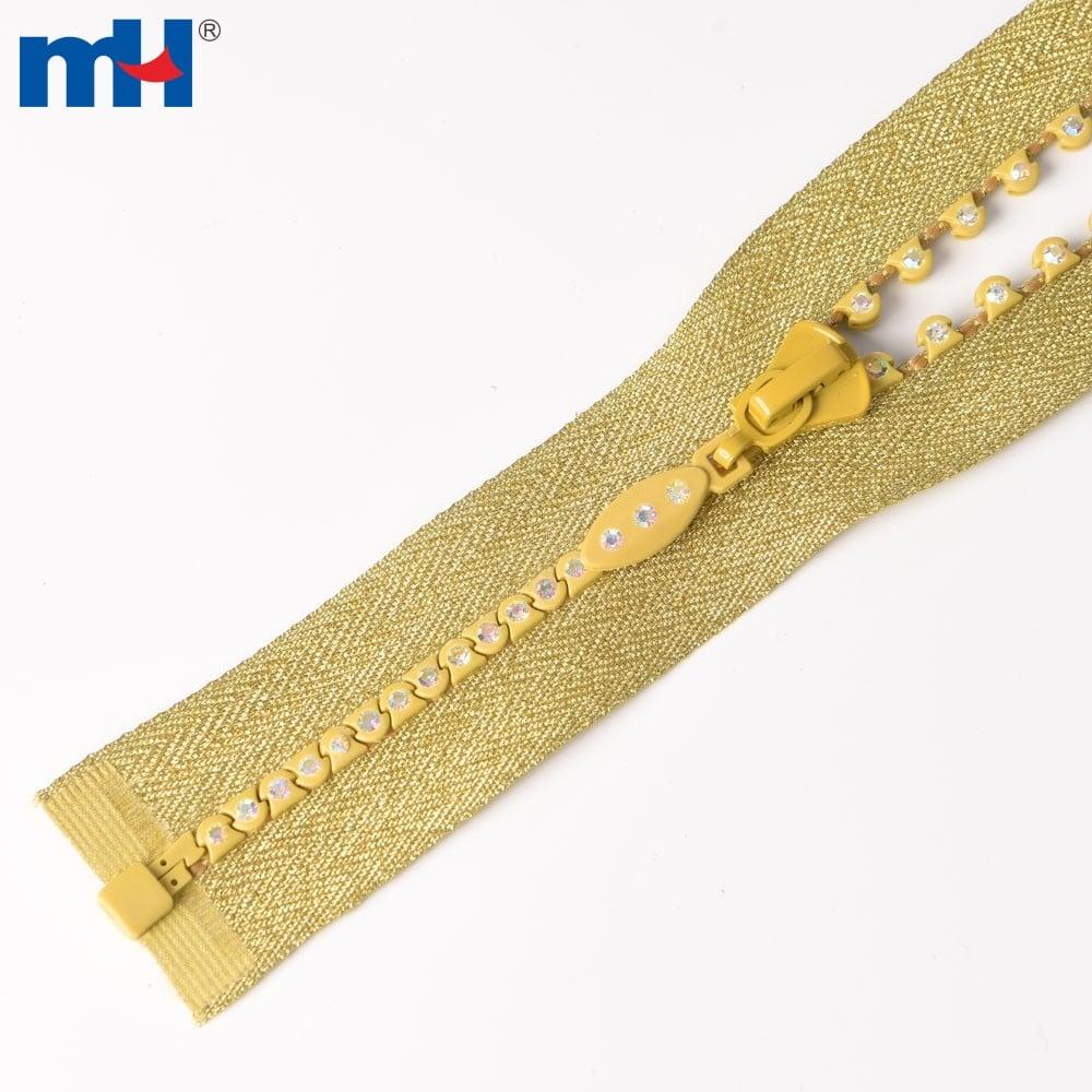 gold crystal zipper