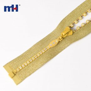 gold crystal zipper