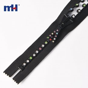 decorative zippers with rhinestones