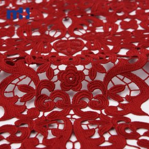 Guipure Lace Fabric Burgundy