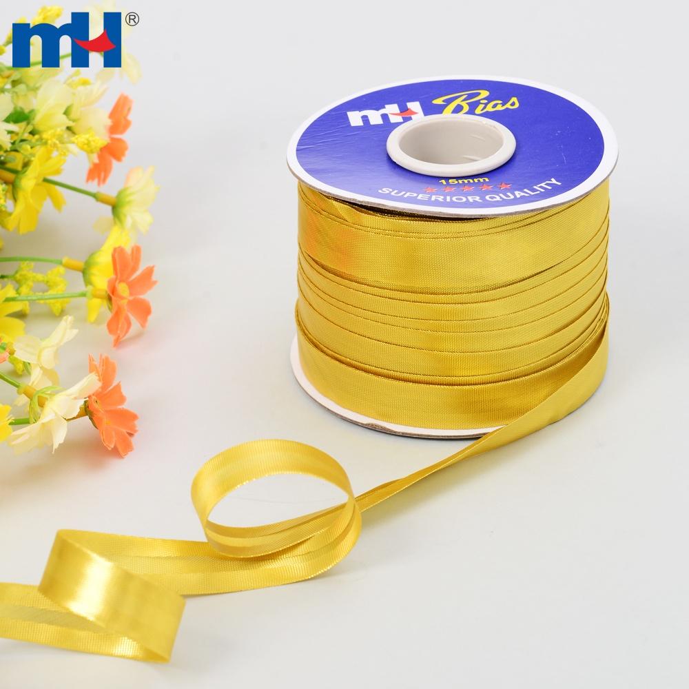 metallic gold satin bias tape