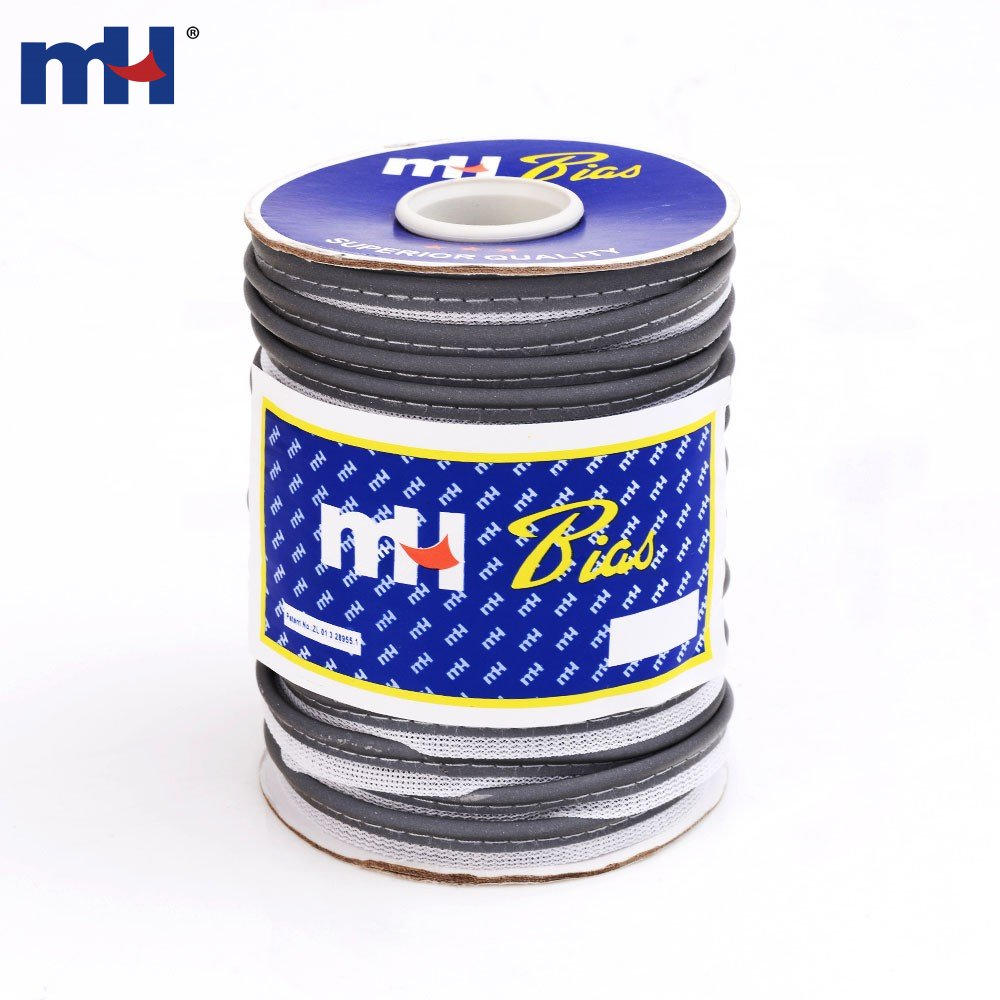 10mm Grey Polyester Reflective Bias Binding Cord Supplier