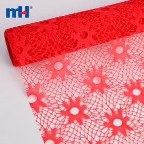 orange plastic mesh flower wrapping
