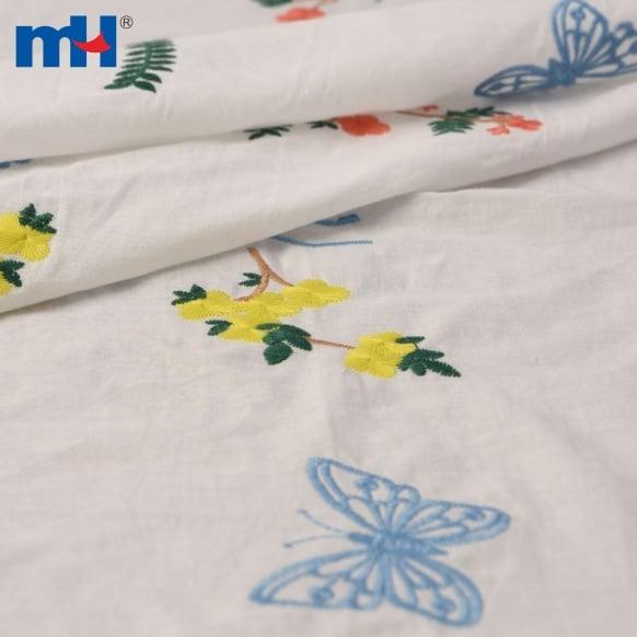 tela bordada de algodón
