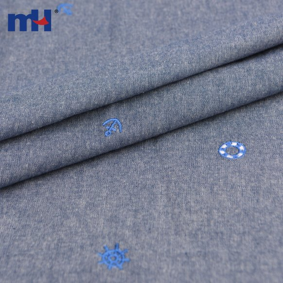 denim embroidered fabric
