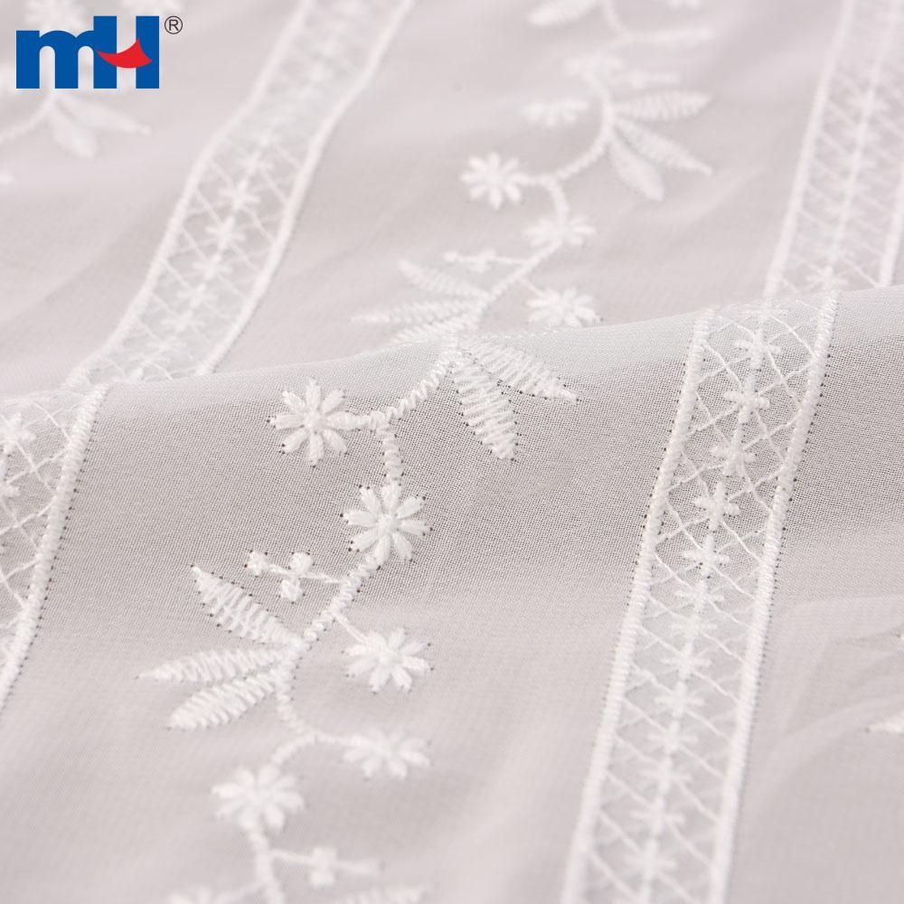 أبيض الزهور شريطية مطرزة نسيج القطن الشيفون