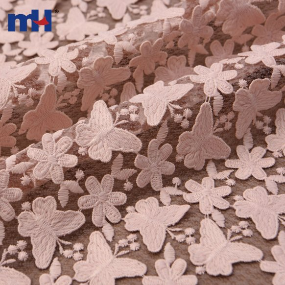 mesh embroidered butterfly fabric