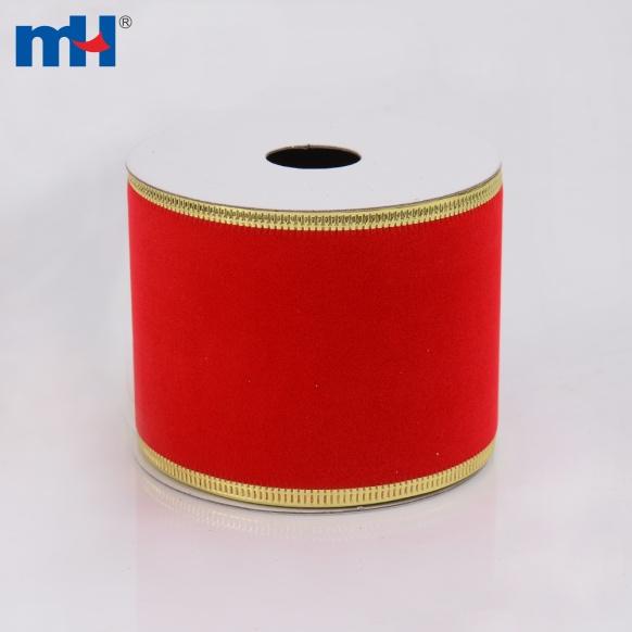 0117-0016-2 Rubans de Noël en velours rouge