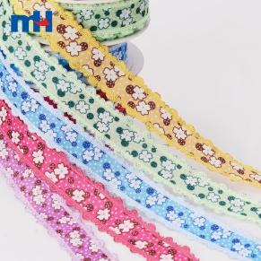 printed floral lace ribbon
