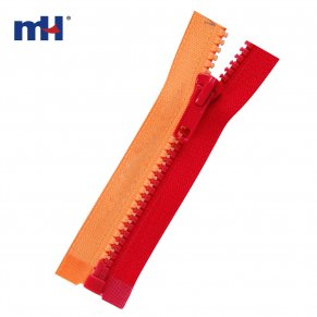 two color plastic zipper