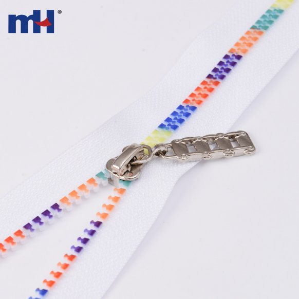 multi-color teeth plastic zipper
