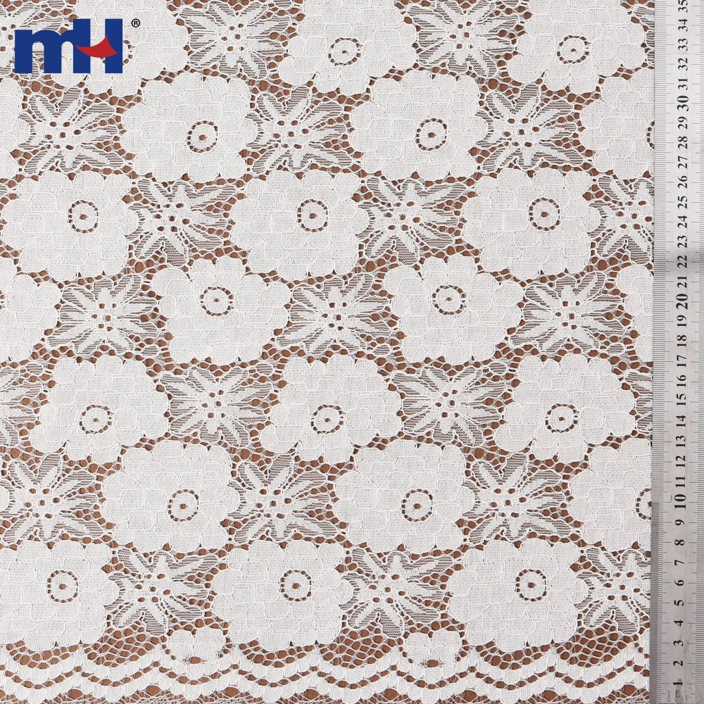 Soft White Stretch Corded Lace Fabric Manufacturer