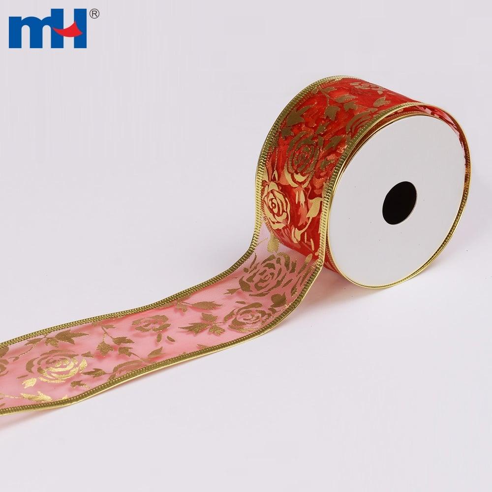 gold foil print organza christmas ribbon   ningbo mh
