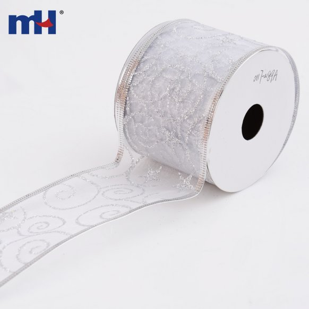 0117-0089A-1 Silver glitter christmas ribbon