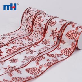 Nastro metallico satinato bianco e rosso glitterato