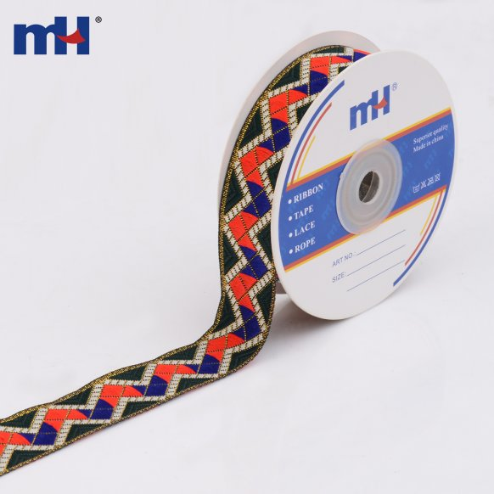 Metallic Chevron Jacquard Ribbons