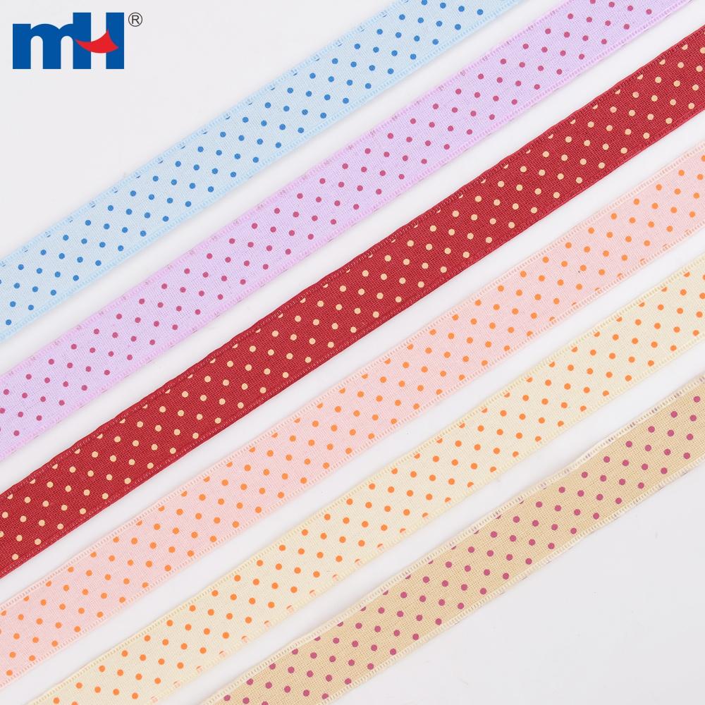 40mm cotton linen polka dot ribbon