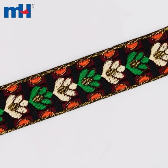 Жаккардовые цветочные ленты
