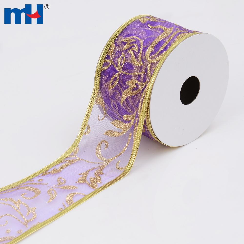 cinta de navidad de organza con cable púrpura
