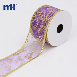 purple wired sheer ribbon