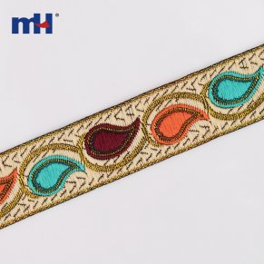 Paisley metallic jacquard ribbon trim