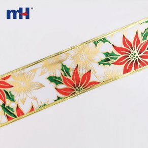 Wired Holiday Poinsettia Ribbon