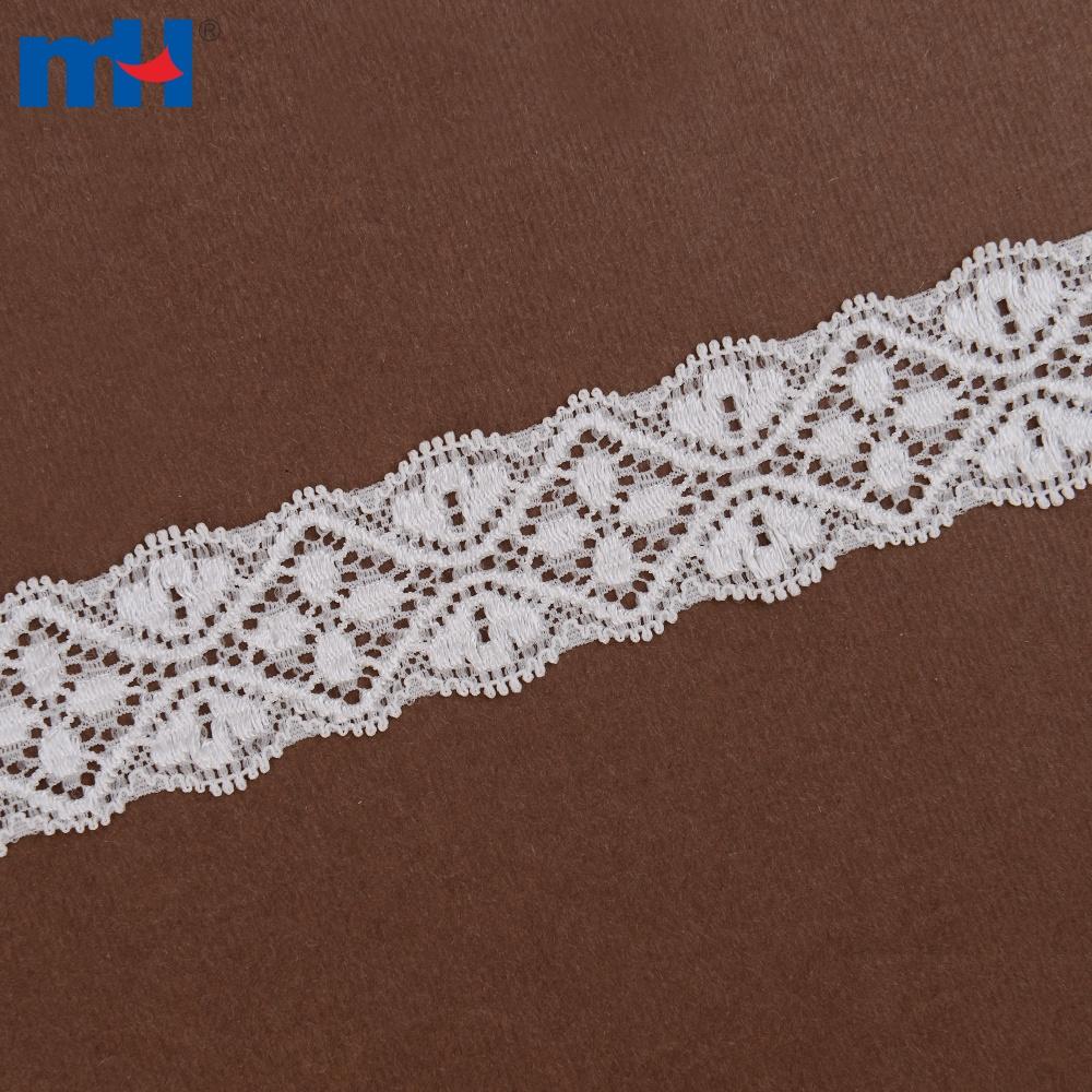 guarnição de renda de nylon branco