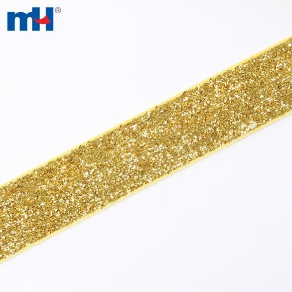 25mm cinta de terciopelo metalizado-dorado-