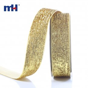 25mm metallic velvet ribbon-gold