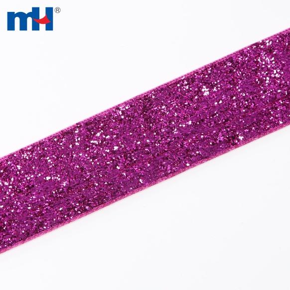 25mm metallic velvet ribbon-fuchsia-2