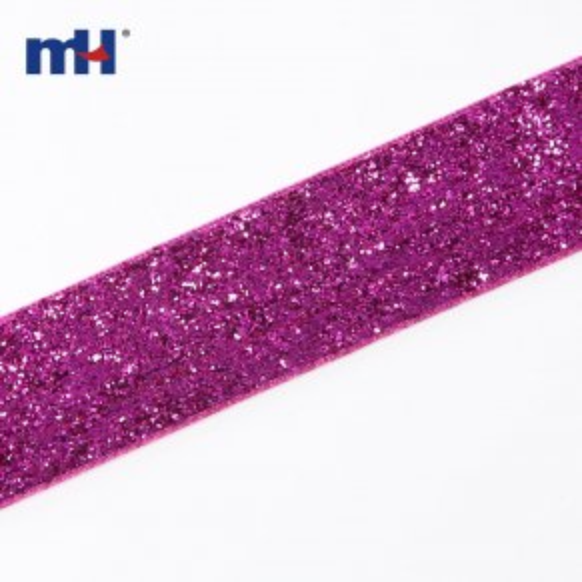 25mm металлическая бархатная лента-фуксия-2