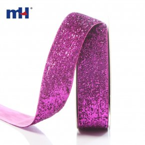 25mm metallic velvet ribbon-fuchsia-1