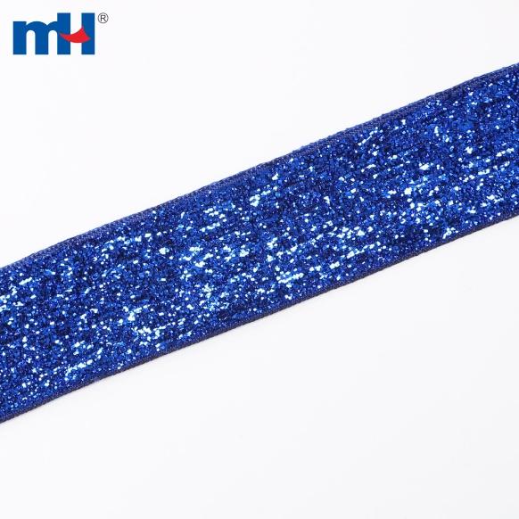25mm metallic velvet ribbon-blue-1