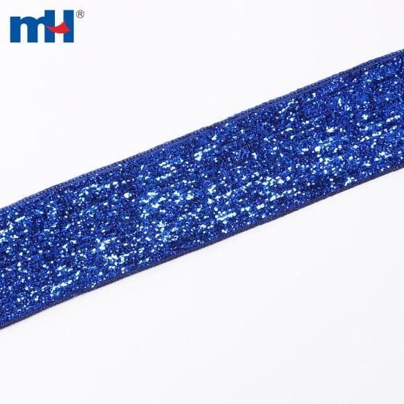 25mm металлик бархатная лента-синий-1