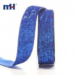 25mm metallic velvet ribbon-blue