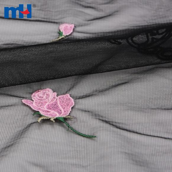 роза вышитая ткань