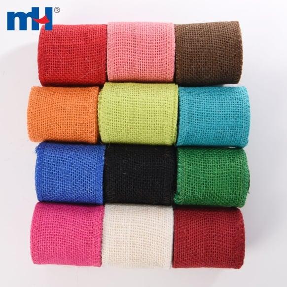 colored burlap ribbon roll