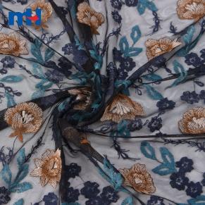 multi-color embroidery fabric