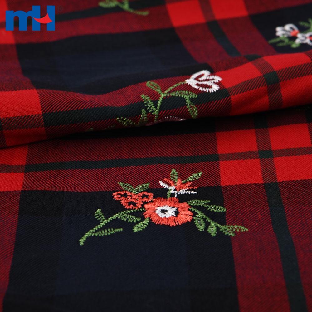 tartan embroidery fabric