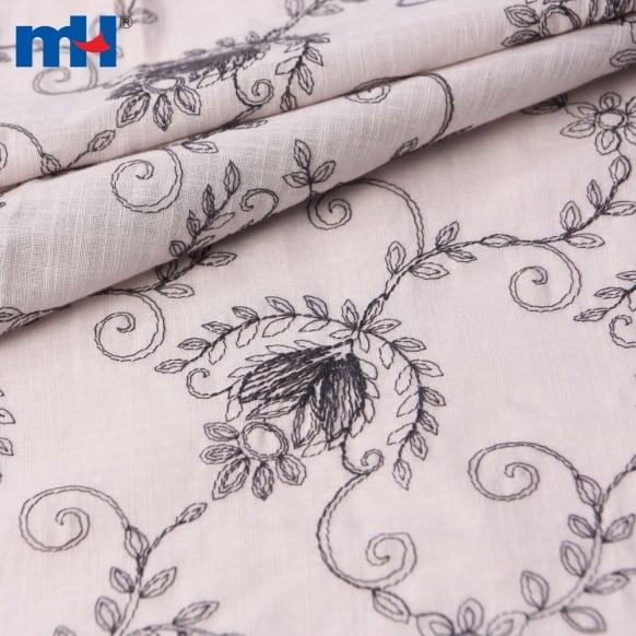 embroidered slub cotton