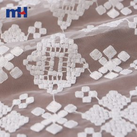 geometric embroidered mesh