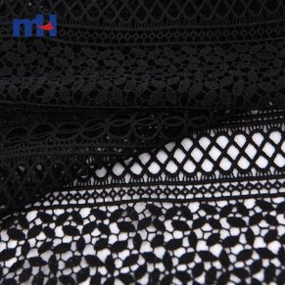 Tela de encaje bordado negro