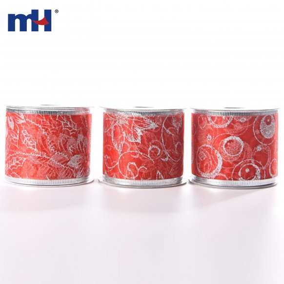 Silver Wire Edged Red Ribbon