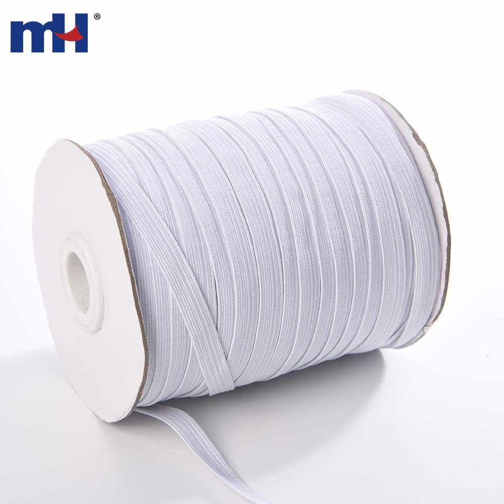8mm 10cord Polyester Braided Flat Elastic For Sewing